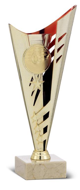 Copa Ossly Ramitos y Disco azul y plata Dorado rojo 38 cm 30,5 cm 35,5 Cm