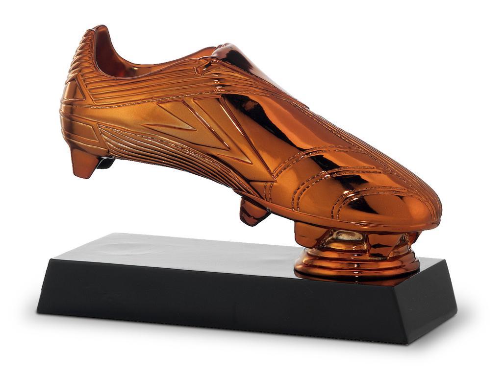 Trofeo en resina bota oro, plata y bronce mestasi Bronce 14x18.5 cm