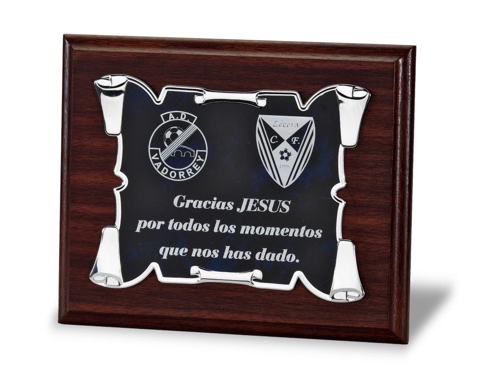 Placa de homenaje pergamino varios acabados Metal 23x18 cm Azul Madera 29x23 cm Madera 24x19 cm Metal 20x15 cm Madera 21x17 cm Metal 16x12 cm