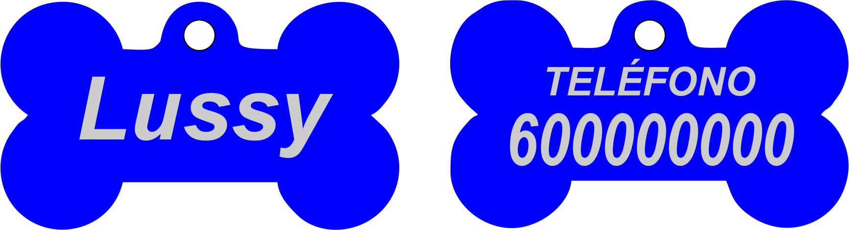 Chapa Para Perro Azul 24 mm 42 mm Aluminio Azul 18 mm 32 mm Aluminio
