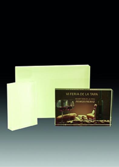 Trofeo tipo placa de cristal personalizable Whats 19 mm 21x15 cm 19 mm 15x10cm 19 mm 12x8 cm