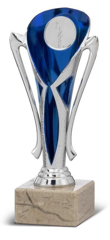 Copa ramita Clebo Plateada azul 18 cm 16 cm