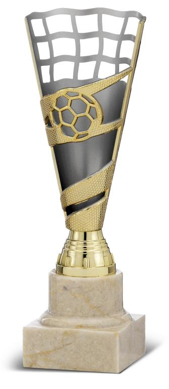 Copa Viesca en plateado y azul con campana alta Plata oro 19,5 cm