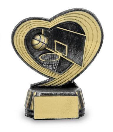 Trofeo con corazon baloncesto 12 cm