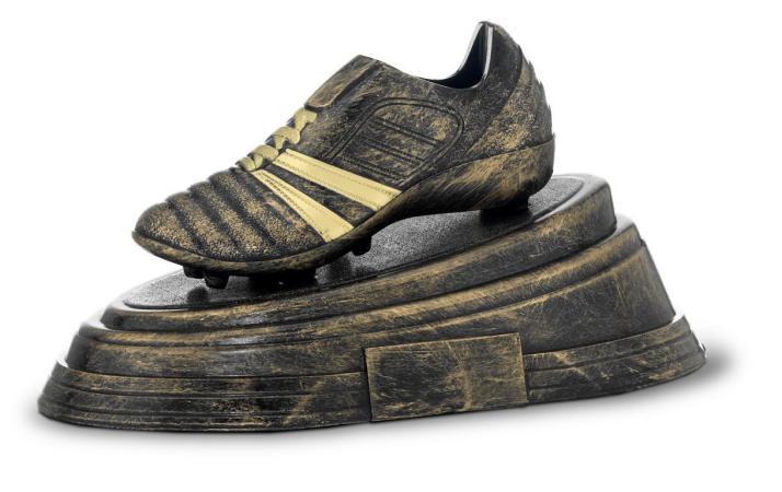 Trofeo bota de futbol bronce 14x25,5 cm