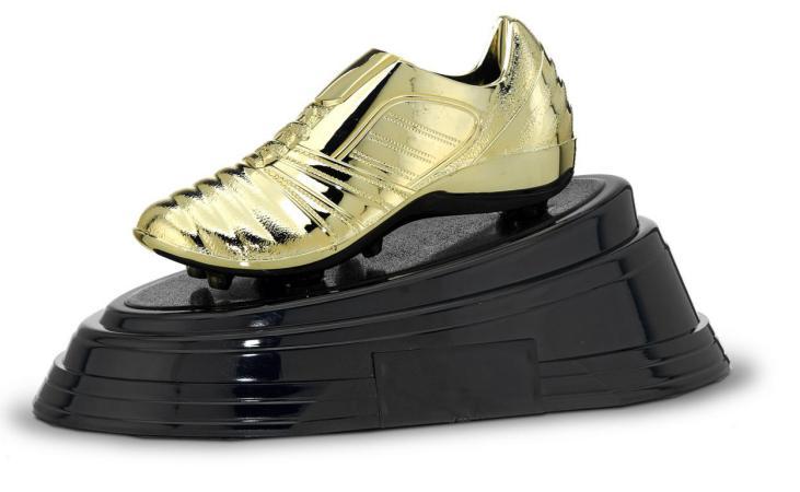 Trofeo bota de futbol Oro 14x25,5 cm