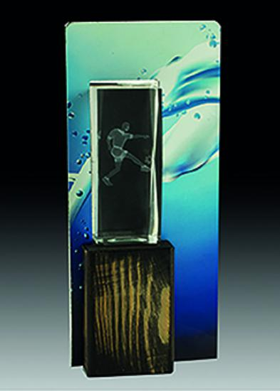 Trofeo Cristal Lapidado con peana 28 cm 26 cm 24 cm