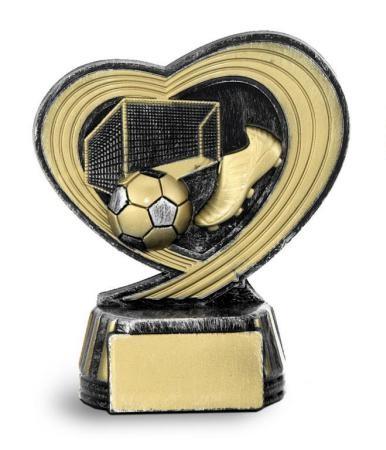 Trofeo corazon futbol y porteria 12 cm