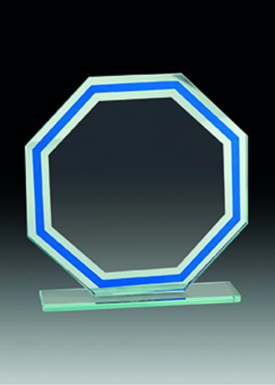 Trofeo Cristal Transparente y Azul con Pelota 19x16 cm 17x14 cm 15x12 cm
