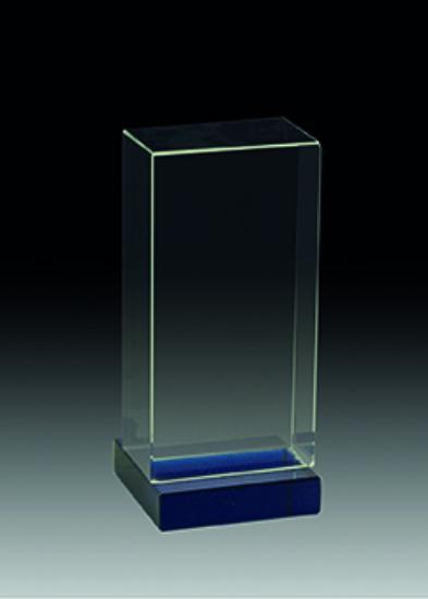 Trofeo Cristal Soporte Azul Horizontal 13 cm Horizontal 11 cm Horizontal 9 cm