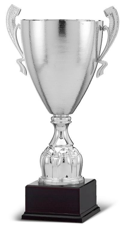 Copa calidad campana rugosa plateada standing