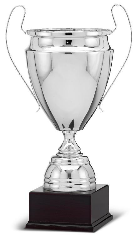 Copa de calidad plateada con asas modernas champions