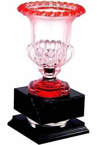 Copa de cristal con detalles en naranja
