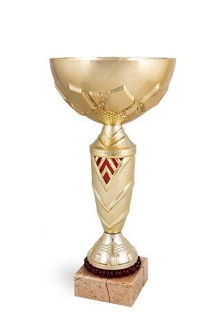 Copa dorada y detalles en rojo modelo Guadalupe