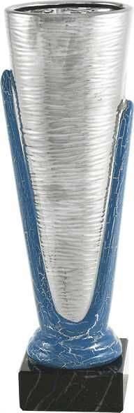 Copa economica plateada y azul. Modelo de la cal