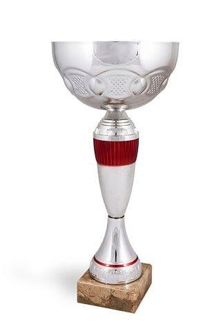 Copa modelo Chiapilla con cuerpo en plateado y rojo