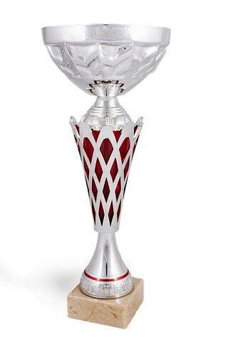 Copa modelo Loreto plateada y granate