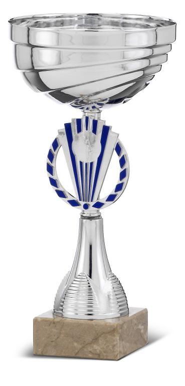 Copa plateada y azul con peana de mármol modelo Allende