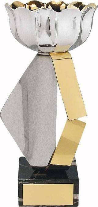 Copa vaso forma hoja plateada y dorada