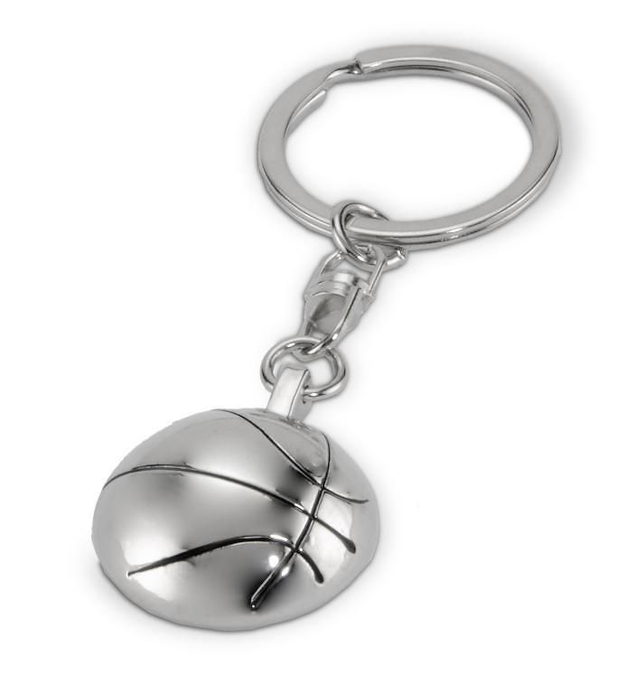 Llavero balón de baloncesto plateado
