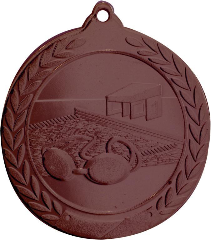 Medalla Deportiva de 50 mm Ø acabado en oro de natacion