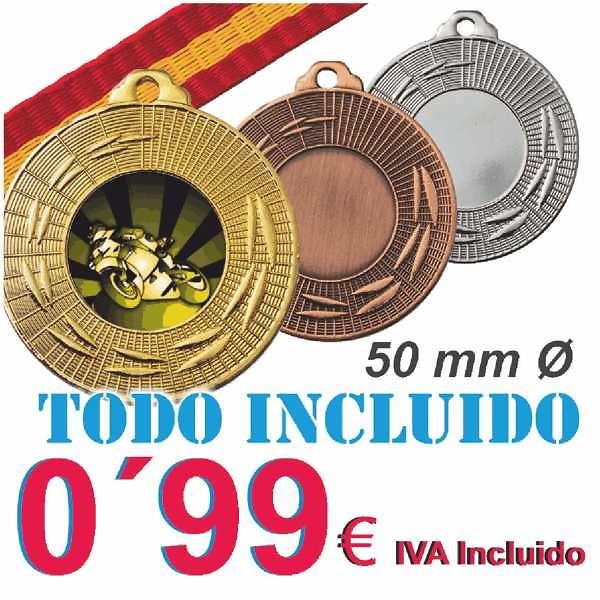 Medalla Oferta en acabados Oro, Plata y Bronce. Incluye Cinta española y disco deportivo. No incluye montaje