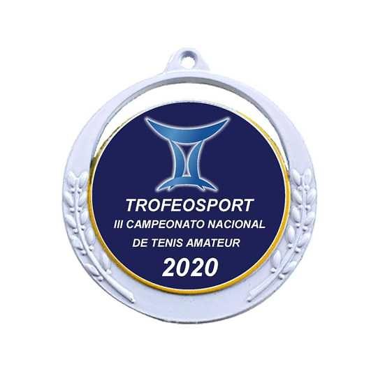 Medalla Palas metálica plateada de 60mm Ø