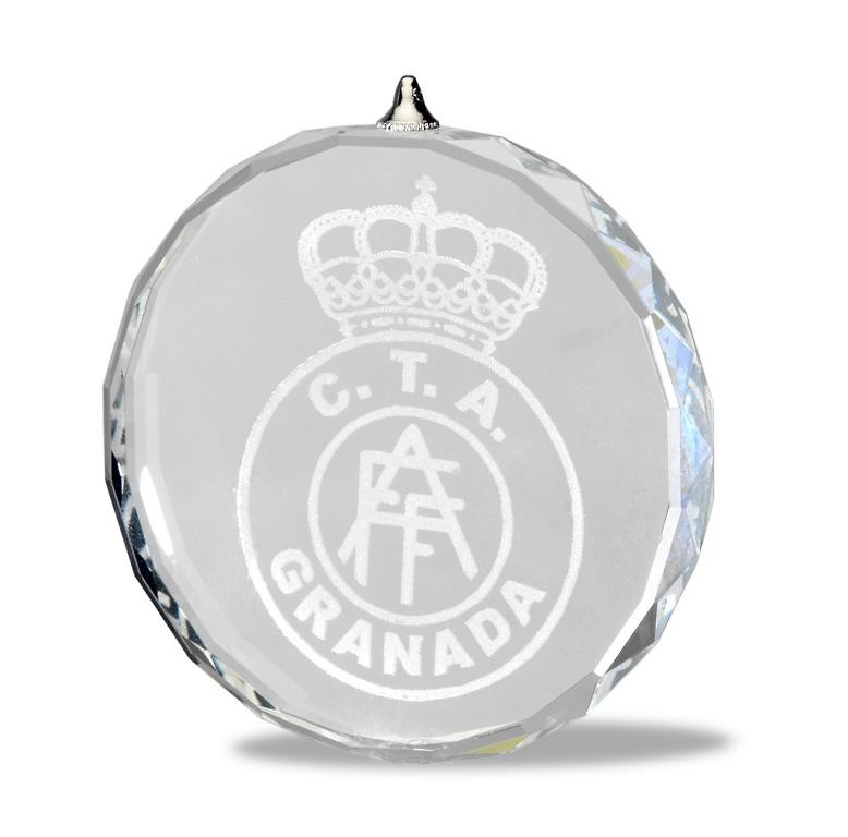 Medalla cristal lapidada grabacion a laser 70 mm
