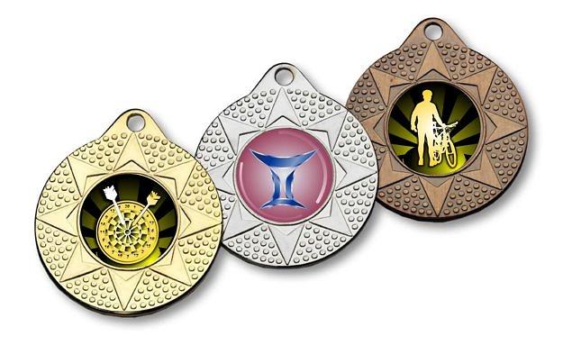 Medalla metalica estrella y puntos con disco