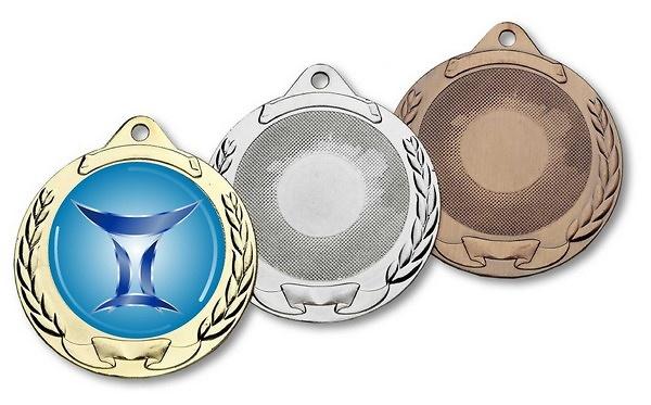 Medalla metalica ramos y pergaminos en diferentes acabados