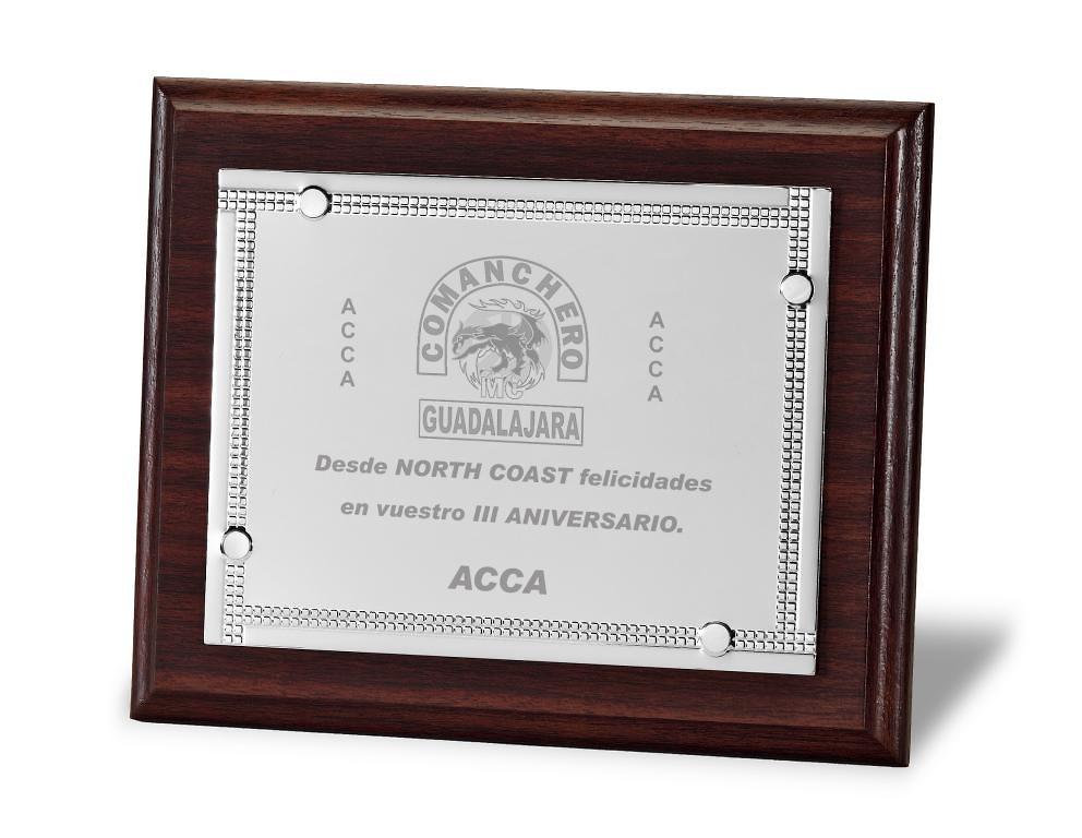 Placa Axelia Conmemorativa de Aluminio Plateada