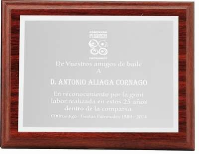 Placa Cherise Conmemorativa de Aluminio Plateada