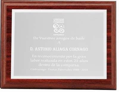 Placa Cherise Homenaje de Aluminio Plateada