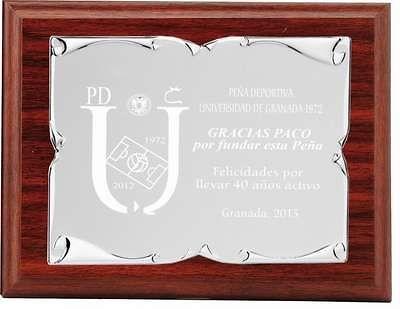 Placa Eryx conmemorativa de Aluminio Plateada