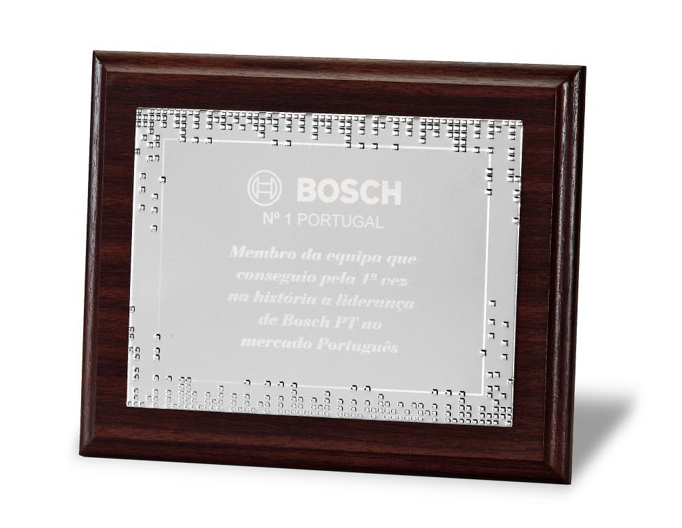 Placa Evadine Homenaje de Aluminio Plateado