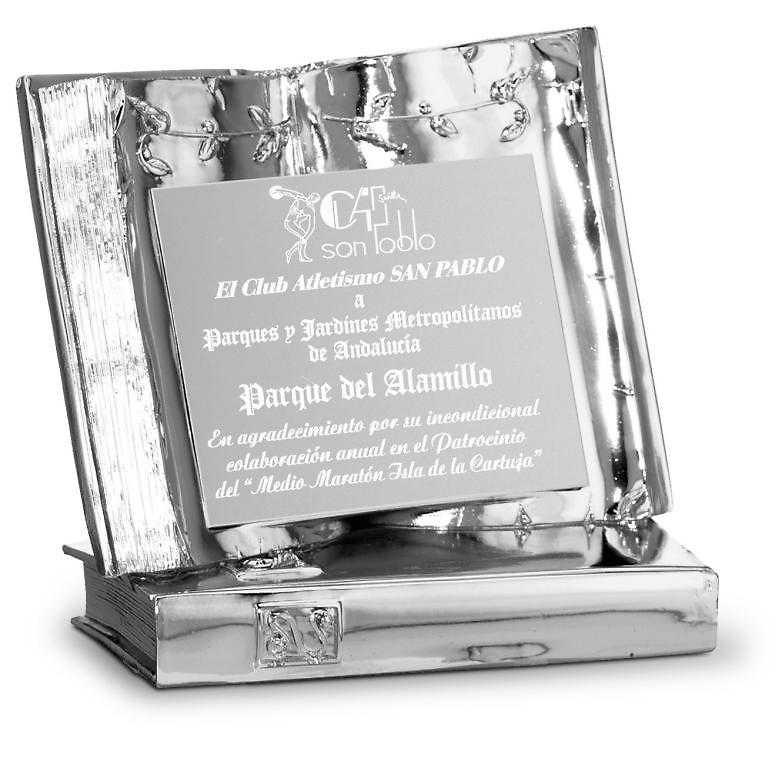 Placa Libro realizada en resina plateada modelo Morelos