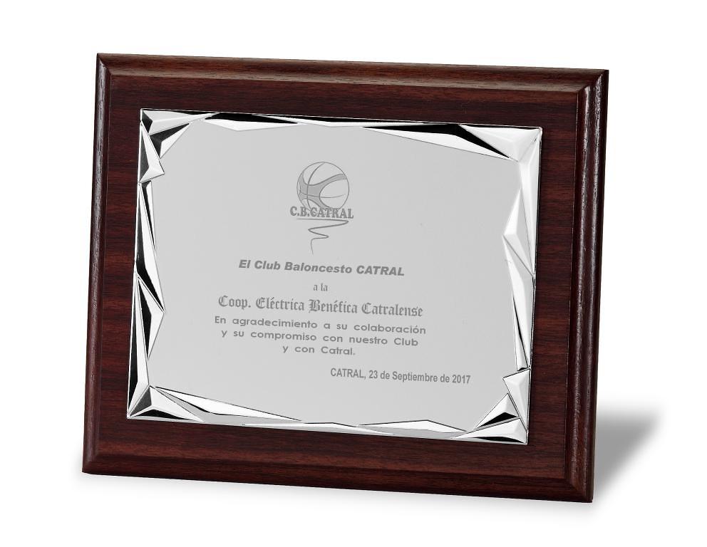 Placa Marmara Homenaje de Aluminio Plateada