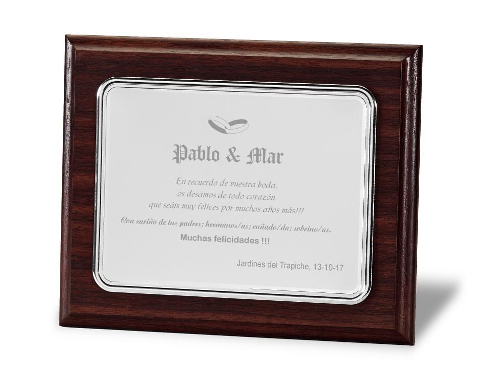 Placa conmemorativa aluminio rectangular lisa mate y brillo