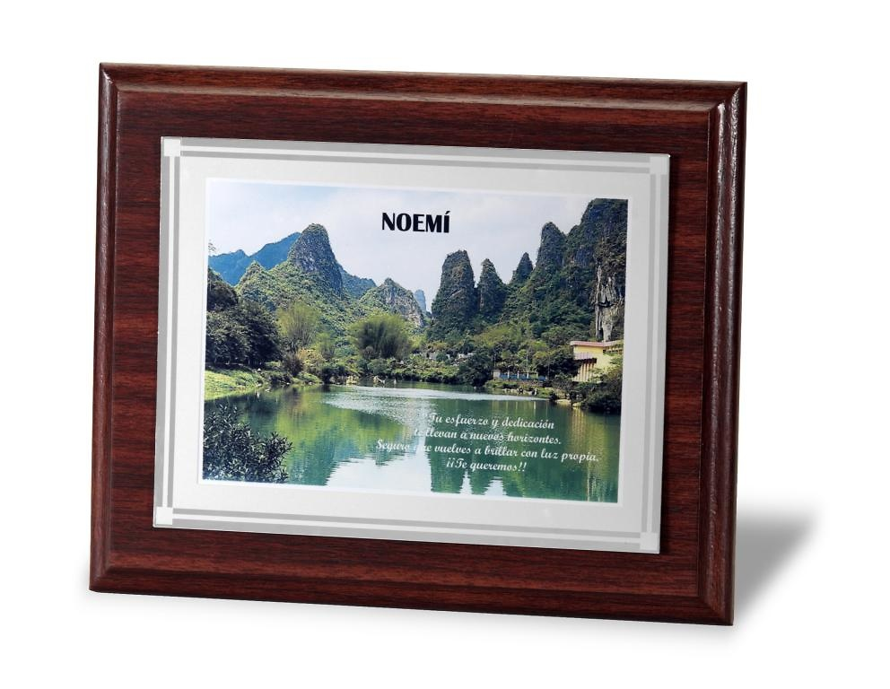 Placa conmemorativa grabacion color rectangular en mate
