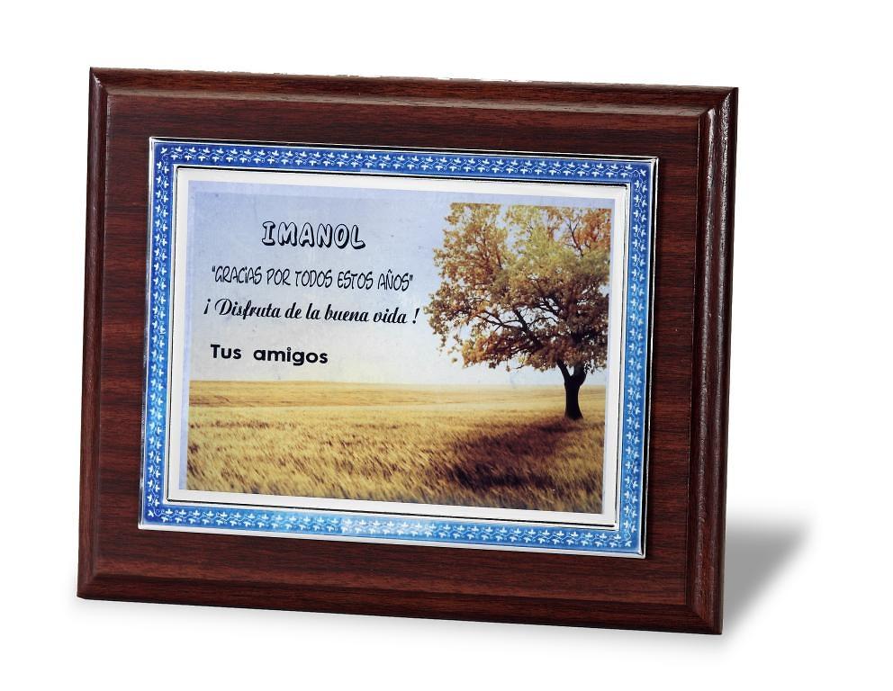 Placa de homenaje en aluminio con esmalte azul para grabacion color