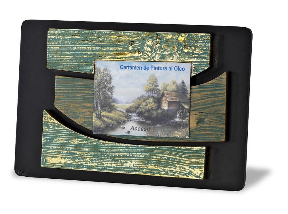 Placa de homenaje o reconocimienot en resina efecto madera a color