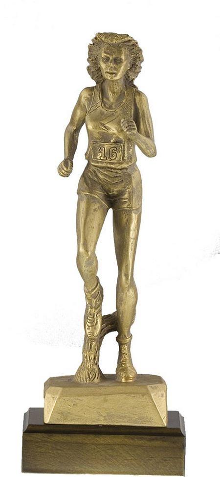 Trofeo Atletimo femenino realizado en resina acabado oro