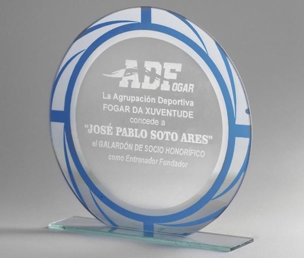 Trofeo Azul de Cristal Personalizable modelo Cosolapa