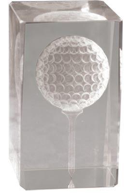 Trofeo Cristal Cubo Lozoya Golf Pelota