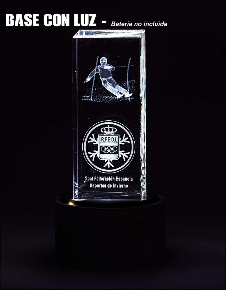 Trofeo Cubo Rectangular de Cristal Optico con luz