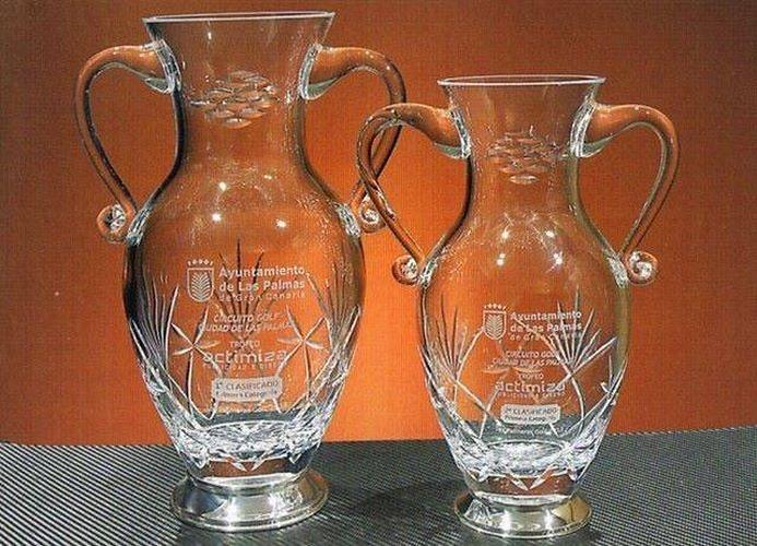 Trofeo Damay Asas Florero Cristal Plata