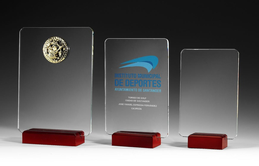 Trofeo Grullo en madera y Cristal personalizable