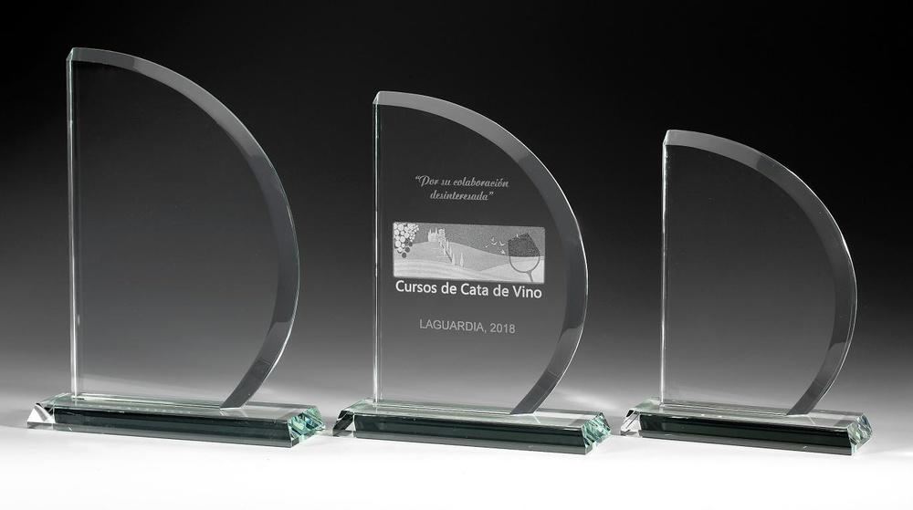 Trofeo Mapimi de cristal en formas redondas
