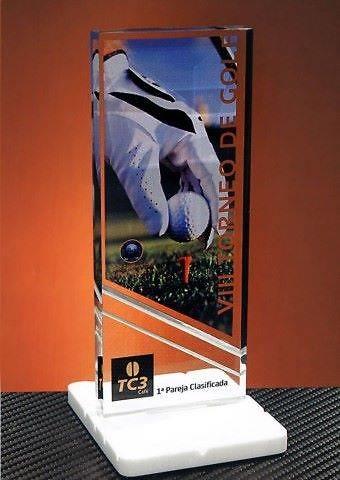 Trofeo Metacrilato Gisiga Peana Blanca