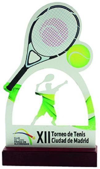trofeo tenis madera grabacion color